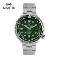 San Martin nuevo Tuna SBBN015 reloj automático a la moda NH35 movimiento Acero inoxidable reloj de buceo 300 mbisel de cerámica resistente al agua