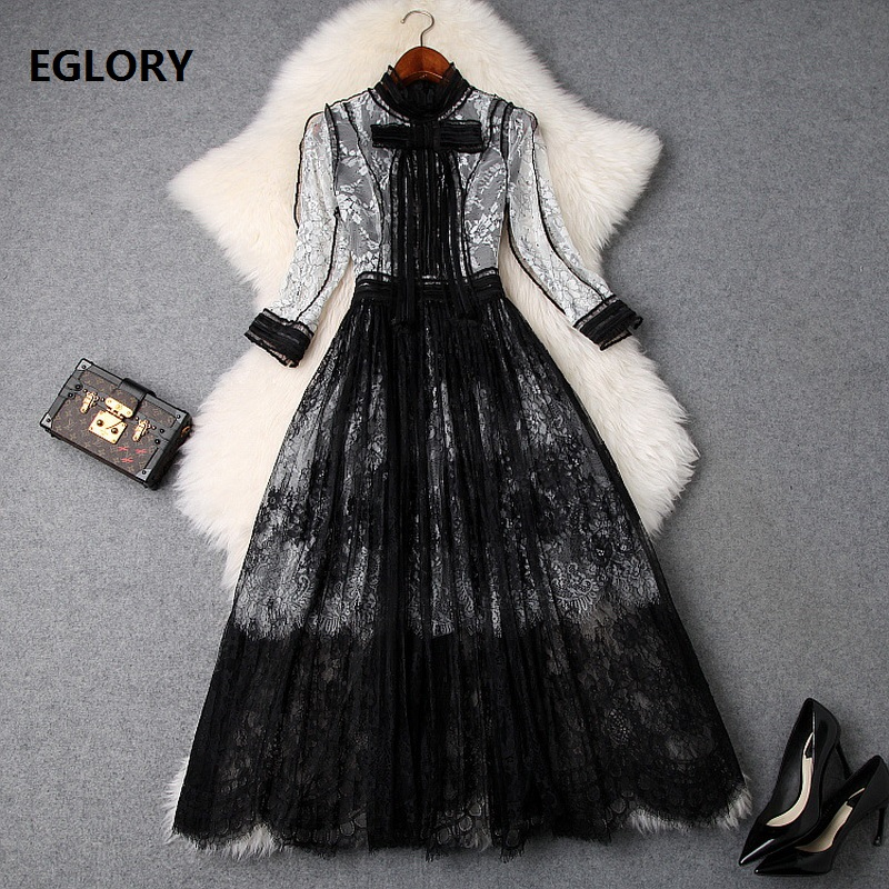 Top Grade Fashion Lace Dress 2019 Spring Style Celebrity Party Women Bow Tie Elegant Color Block Lace A-Line Midi Dress Vestidos