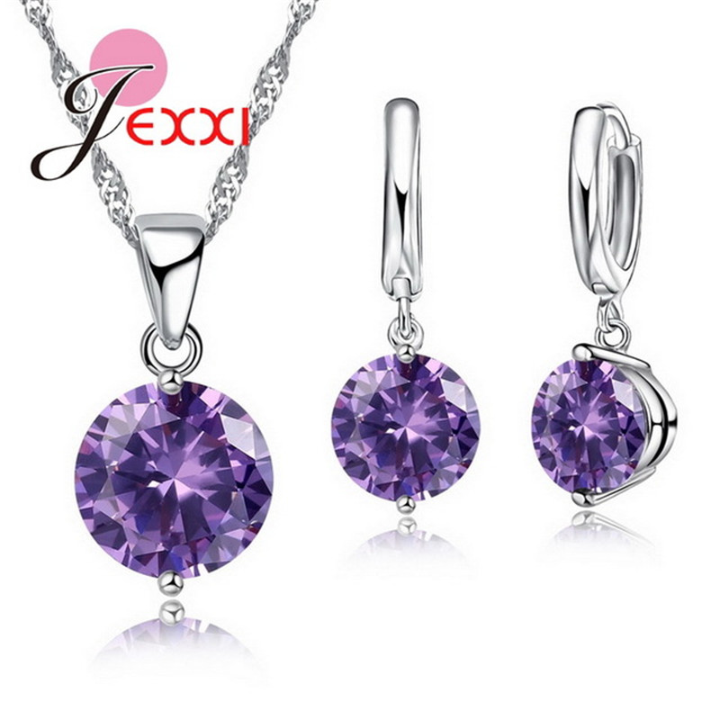 JEXXI Trendy 8 Colors Cubic Zirconia 925 Sterling Silver Drop Earrings Necklace Set Women Wholesale Statement Jewelry Sets Gifts