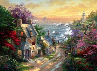 Framed Painting By Number Wall Paiting Picture Oil Painting For Living Room 4050 Village Lighthouse
