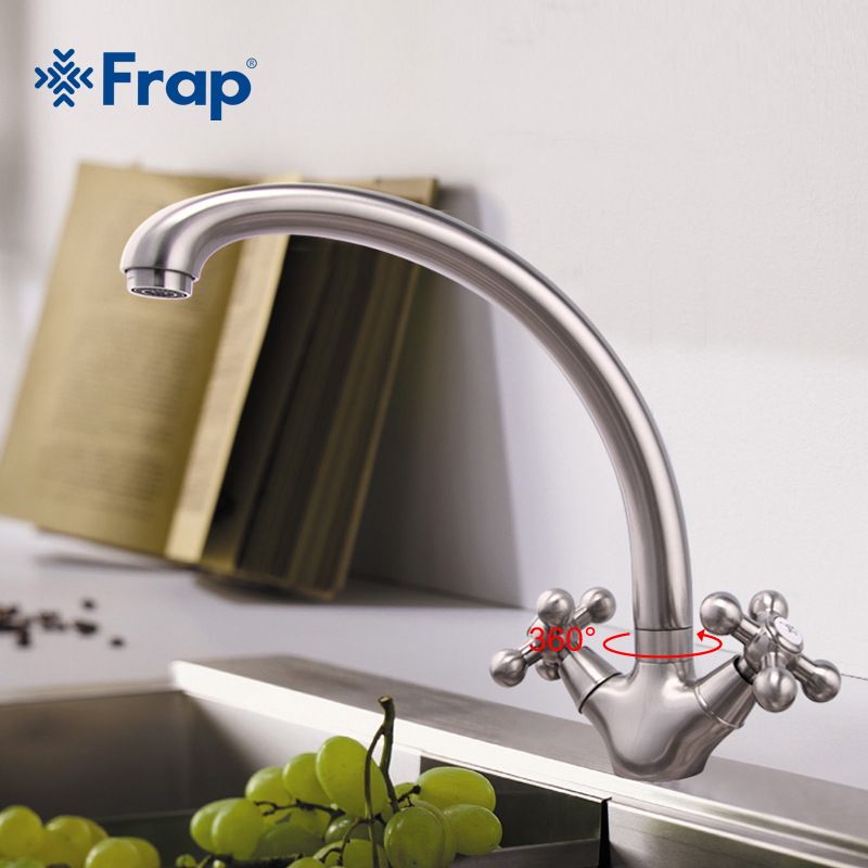 Frap 1 Set Frap Hot Sale Brushed Nickel Kitchen Faucet Double Handle Cold And Hot Mixer F4219-5