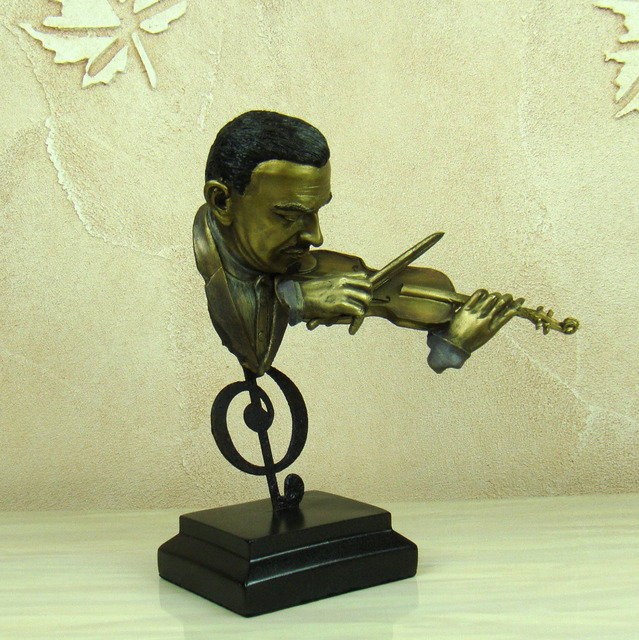 Abstract Violin Player Bust Musical Resin Statue 5