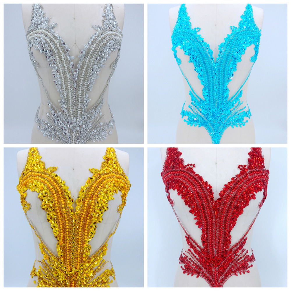 Pure hand made more colour sew on Rhinestones applique on mesh crystals patches trimming 56 44cm