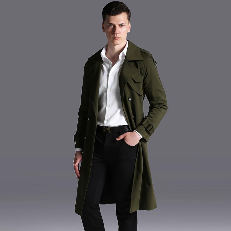 Trench coat male Big Large weight 110kg winter men's Polyester fiber coat collar design long outwear overcoat Black Green Beige