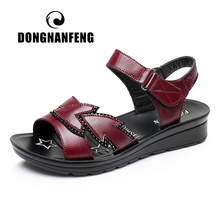 DONGNANFENG Women Old Mother Female Shoes Flats Sandals Cow Genuine Leather PU Casual Beach Hook Loop Summer Size 35-41 HD-B03 2017 novelty women s sandals ankle wrap genuine leather loop hook women shoes dark pink female shoes cow leather