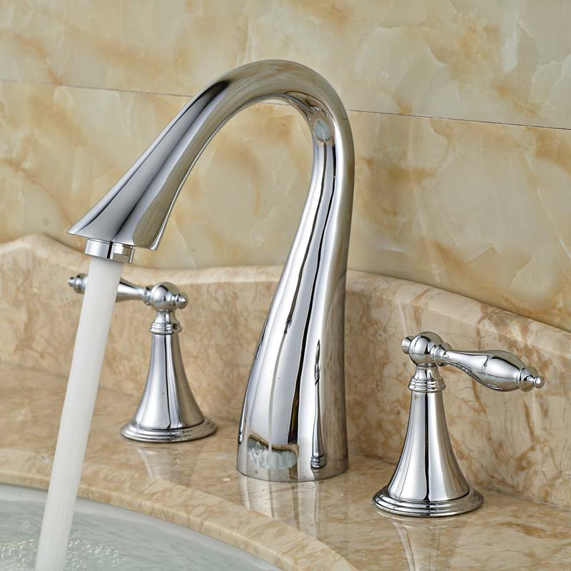 2016 Newest Swan Shaped Wash Basin Taps Three Holes Brass Countertop Vessel Faucet Chrome Finish