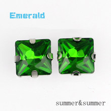 Square Emerald Crystal Glass Sewing Rhinestones Claw DIY Women's Shose and Wedding Dresses 20pac/piece(China)