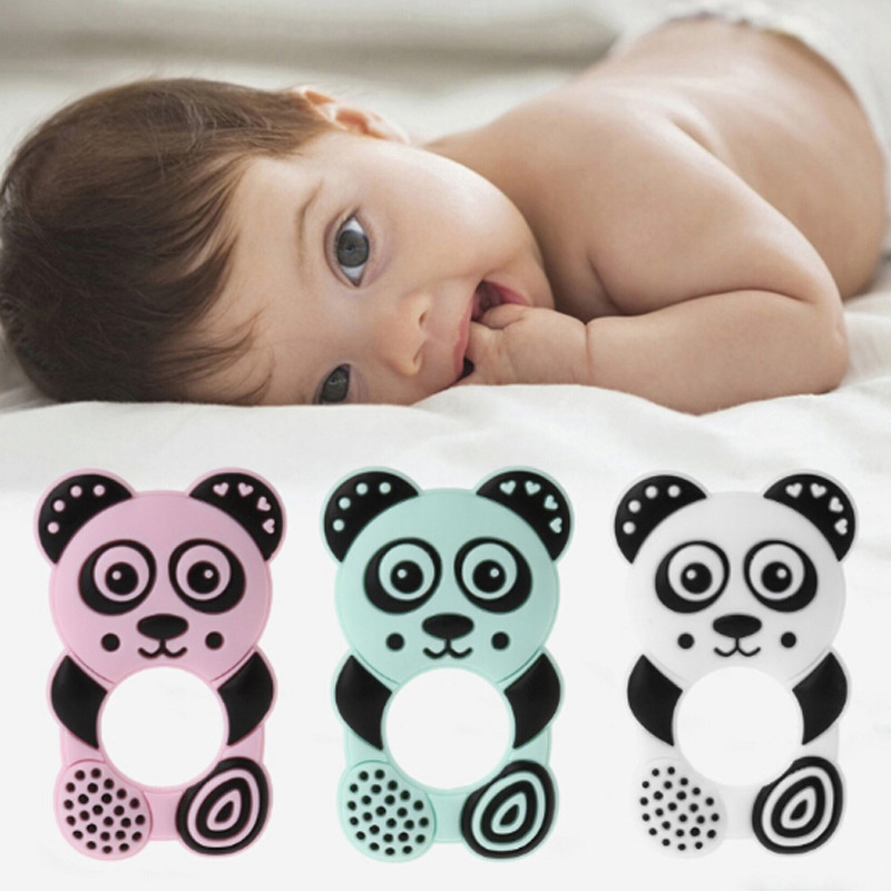 Baby Cute Panda Chew Necklace Teether Pacifier Teething Rings Pendant Necklace Nursing teething Silicone
