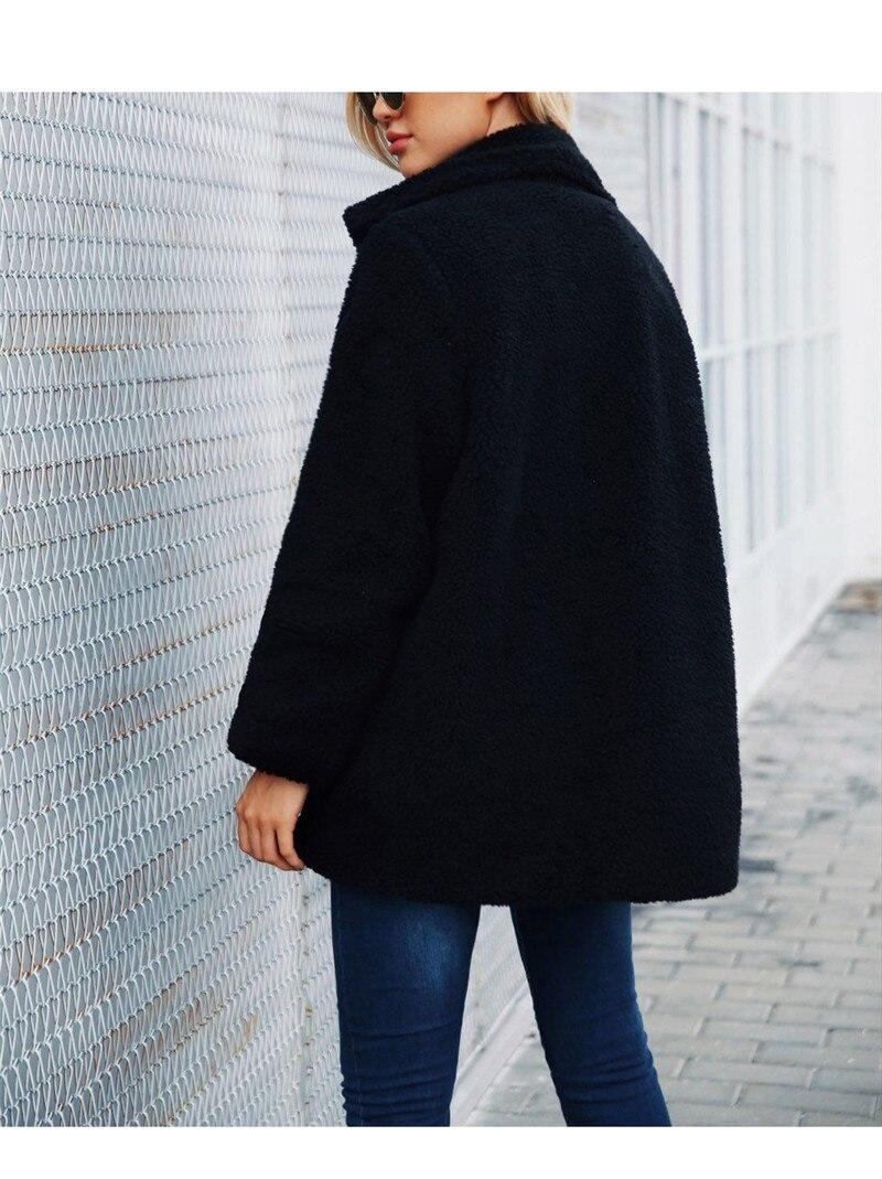 Europe and the United States street photo lapel imitation fur plush coat multi-color long wool coat (5)