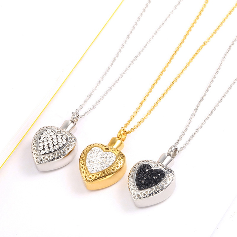 Full Zircon Heart Stainless Steel Cremation Jewelry For Ashes Of Loved One Keepsake Memorial Urn Necklace Pendant Buy At The Price Of 3 18 In Aliexpress Com Imall Com