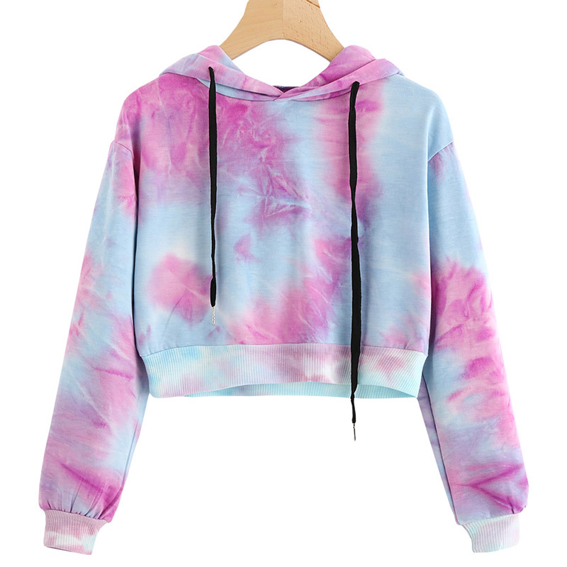 Hoodies Multicolor Casual Women Drawstring Hooded Sweatshirt 2018 Autumn Tie Dye Long Sleeve Hoodies