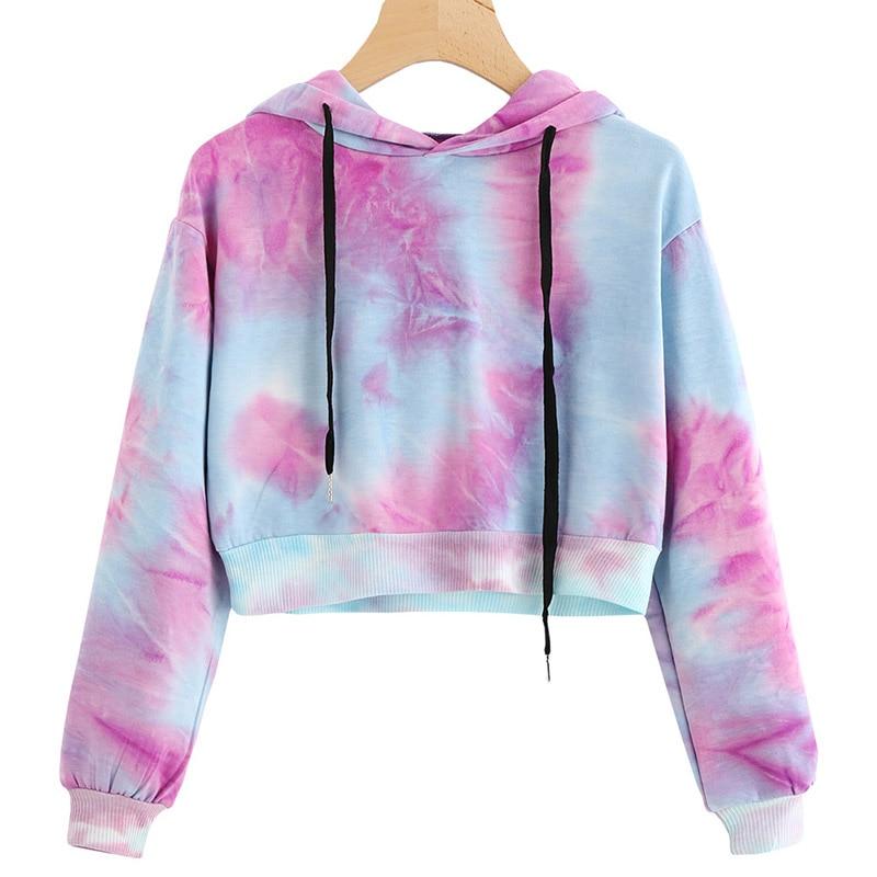 Hoodies Multicolor Casual Women Drawstring Hooded Sweatshirt 2018 Autumn Tie Dye Long Sleeve Hoodies