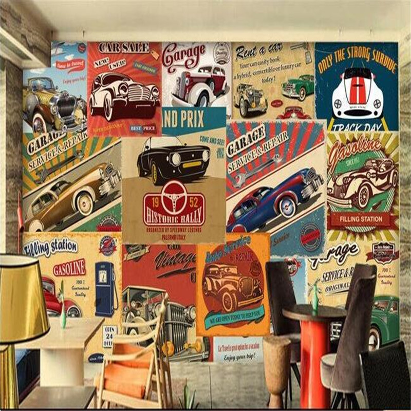3d large wall wallpaper mural HD Continental retro car design storys English theme cafe backdrop custom silk photo wall paper