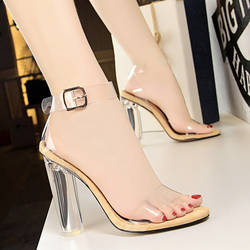 ПВХ каблуки женские Босоножки с открытым носком Для женщин Насосы Прозрачные желейные сандалии Кристалл Сандалии с квадратным каблуком