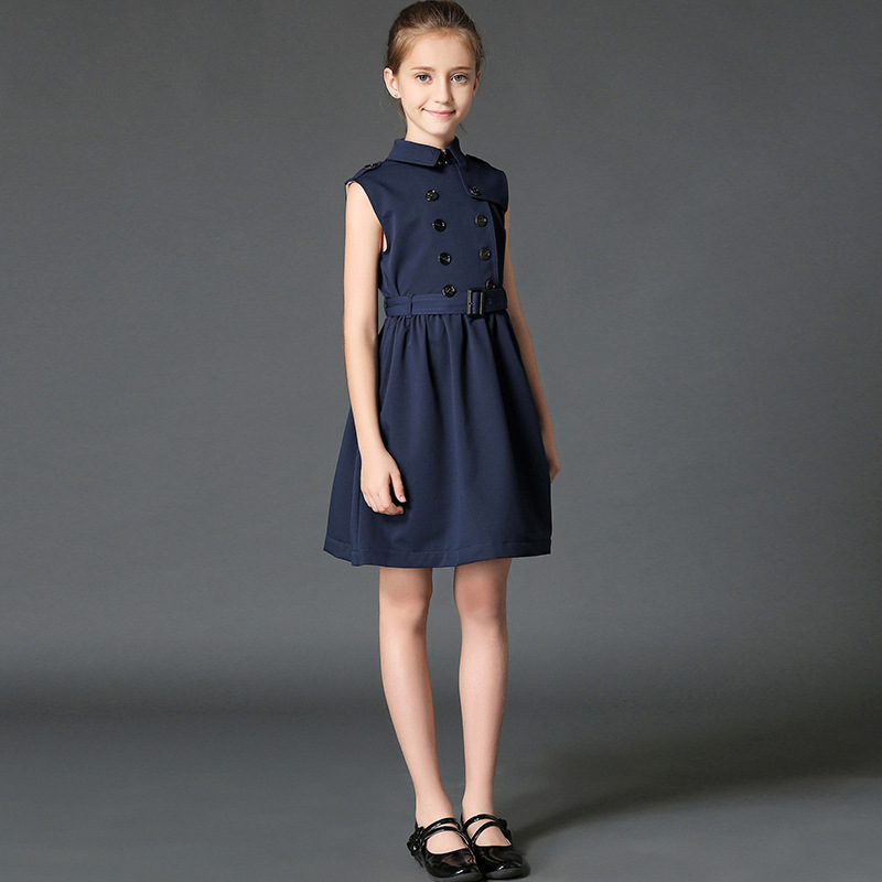 teenage girls dress autumn sundresses navy beige costumes children clothing 8 9 10 11 12 13 14 years girl clothes fancy frocks in Dresses from Mother Kids