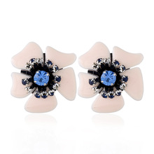 New Korean Style Natural Plastic Flowers with Imitation font b Diamonds b font Earrings For Women