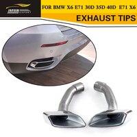 Silenciador de punta de escape de acero inoxidable 1 par (izquierdo + derecho) para BMW X6 E71 30D 35D 40D 2008-2013
