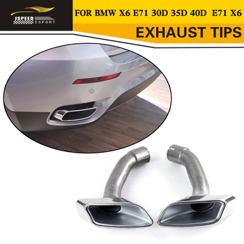 Stainless Steel 1pair(left+right) Exhaust Tial Tip Muffler For BMW X6 E71 30D 35D 40D 2008-2013 image