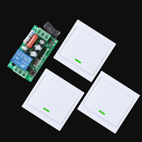 Home Smart AC 220V Receiver Wireless Remote Control Switch 3PCS Wall Panel Remote Transmitter Hall Bedroom