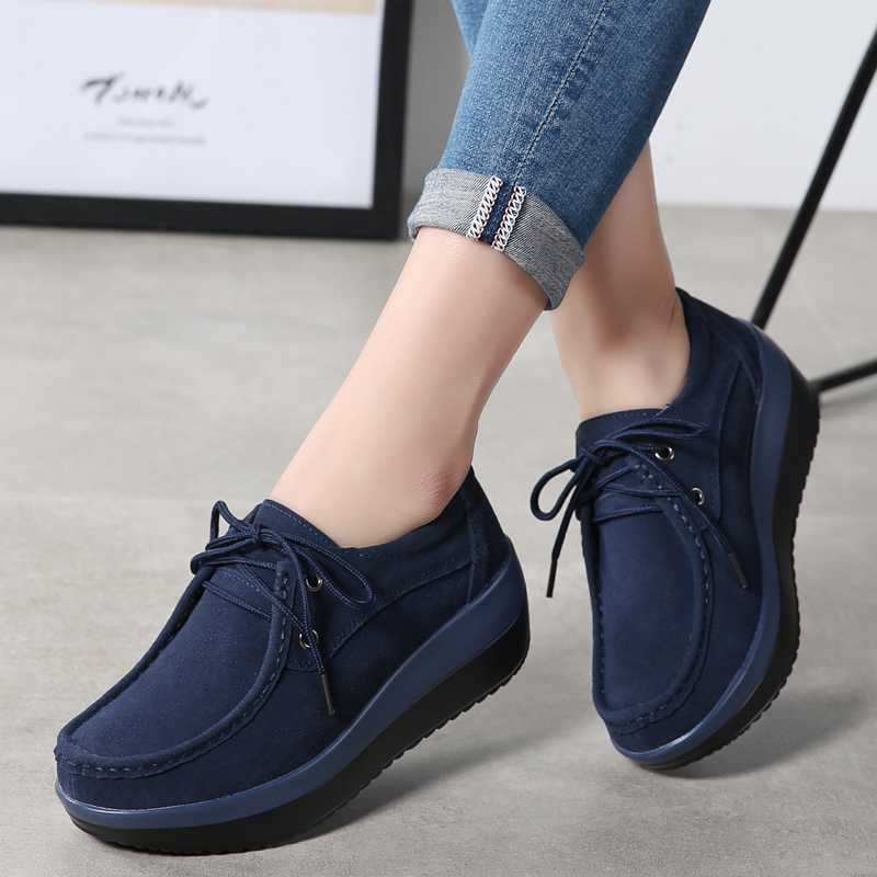 2019 Spring Women Flats Shoes   Leather     Suede   Slip On Platform Sneakers Casual Shoes Women Moccasins Lace Up Flat Oxfords Creepers