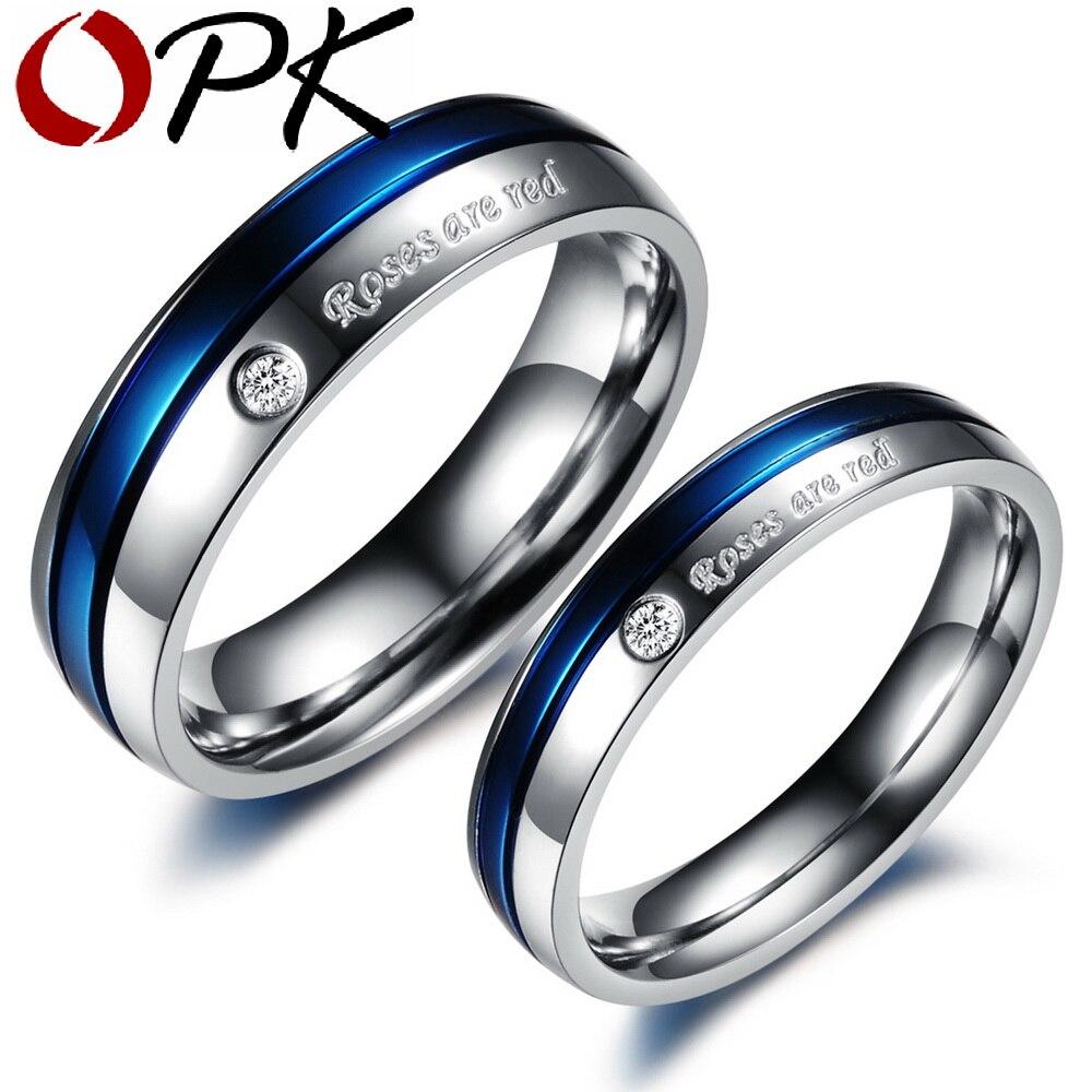 OPK Mode Coréenne de mode en acier inoxydable couple anneau hommes et des femmes cadres supérieurs couple titane bague de fiançailles anillos de oro 192