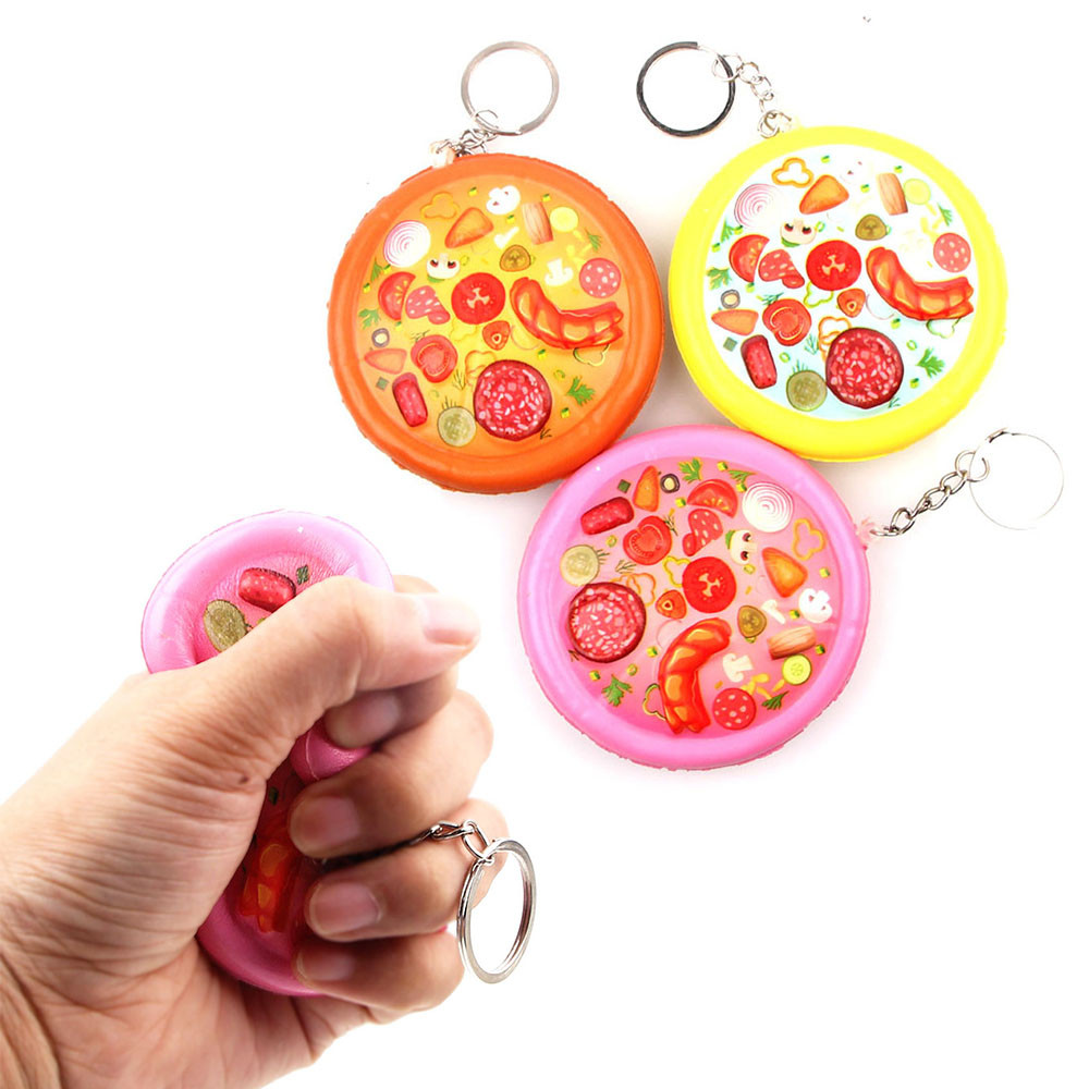 Anti-stress Cute Soft Squishies Cute Pizza Stress Reliever Keychain Scented Super Slow Rising Squeeze Kids Funny Toy Gifts W515