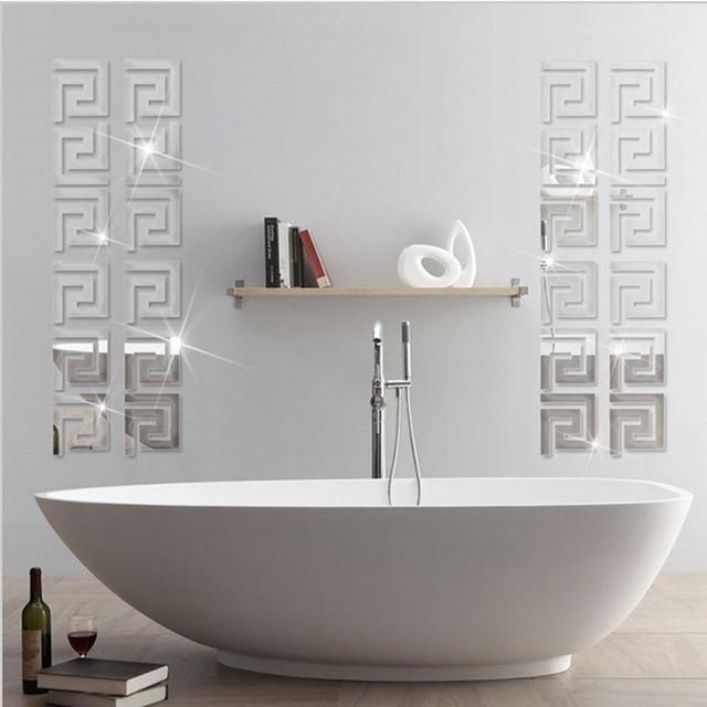 precio de fbrica unids geomtrico moderno pared border sticker reflectante como un espejo para