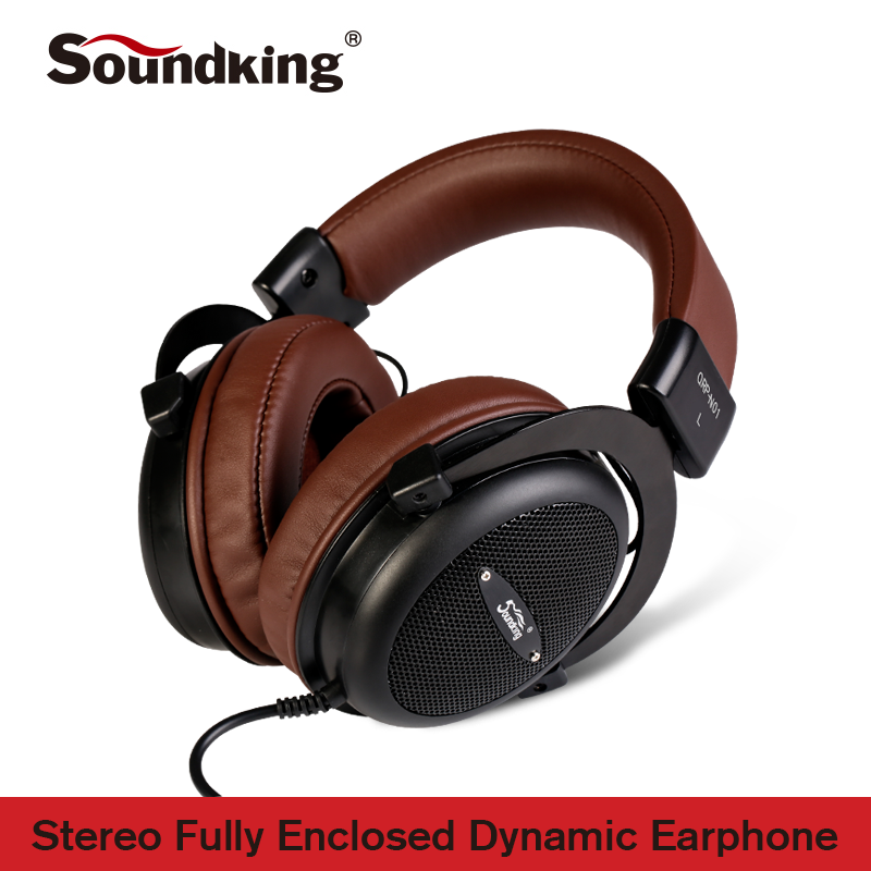 Soundking Genuine Headphone HIFI Stereo Fully Enclosed Dynamic Earphone Studio Monitor Headphones Hifi DJ Headset QRP-N01 oneodio professional studio headphones dj stereo headphones studio monitor gaming headset 3 5mm 6 3mm cable for xiaomi phones pc