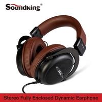 Soundking Genuine Headphone HIFI Stereo Fully Enclosed Dynamic Earphone Studio Monitor Headphones Hifi DJ Headset QRP N01