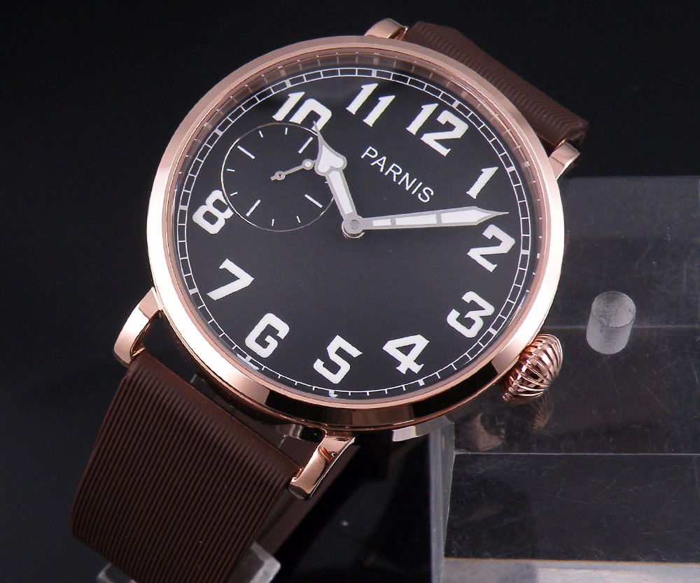 46mm parnis men's watch leather strap with rose gold dial trend fashion manual mechanical watch цена и фото