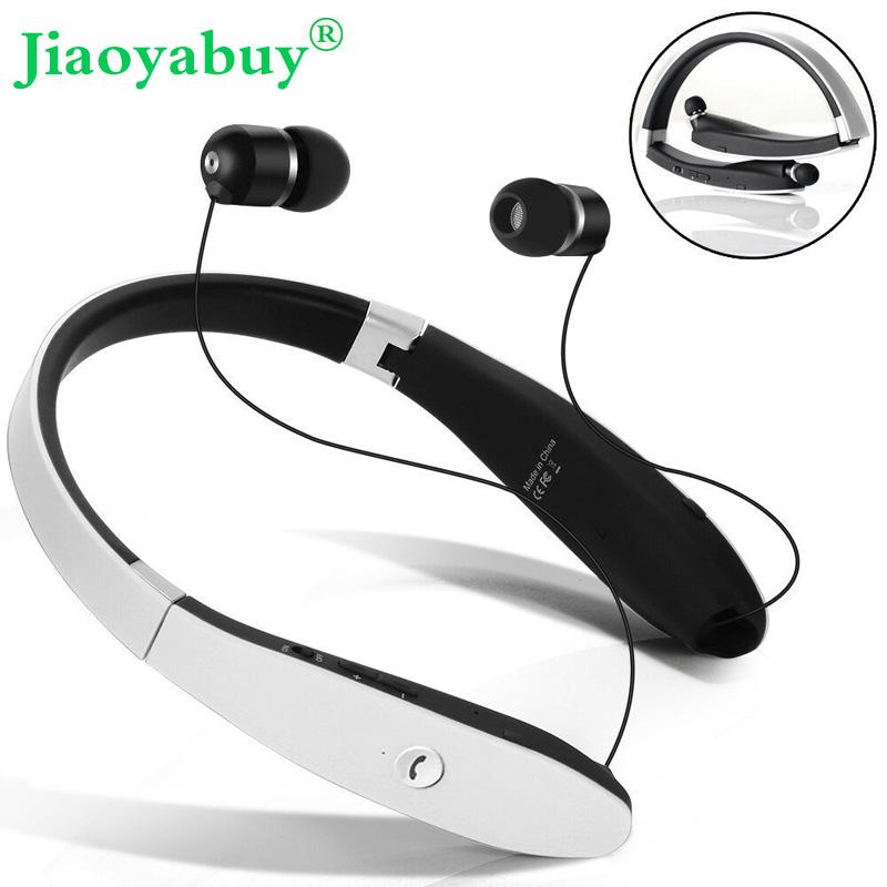 Prix pour Jiaoyabuy Sans Fil Bluetooth Casque Rétractable Pliable Sweatproof Casque sport Stéréo avec CVC Bruit Annulation Écouteurs