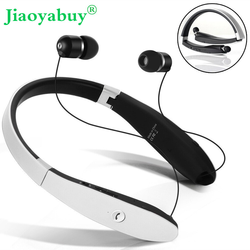 Jiaoyabuy Wireless Bluetooth Headset Retractable Foldable Sweatproof Headphone Sports Stereo