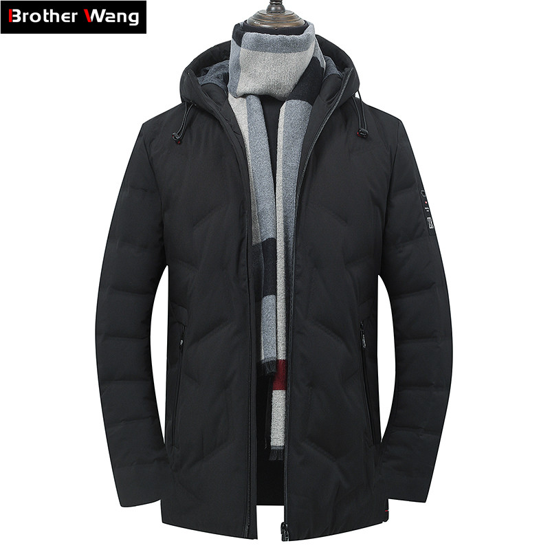 2019 Winter New Men's White Duck Down Hooded Down Jacket Fashion Business Casual Slim Fit Thicken Warm Coat Male Brand Clothes