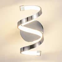 Modern Nordic Metal Indoor Led Wall Lamp Rose Chrome Bedroom Bedside Stair Hotel Warm White Light Sconce Wall Mounted Wall Light