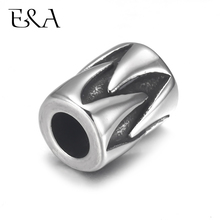 4pcs Stainless Steel Bead Chamrs Cylinder 5mm Hole for Leather Jewelry Bracelet Making Metal European Beads DIY Supplies Parts