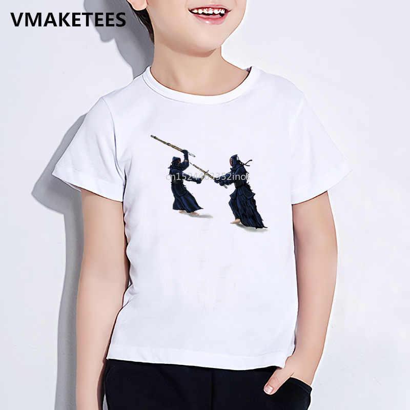 Musim Panas Lengan Pendek Anak Perempuan dan Anak Laki-laki T Shirt Anak-anak Seni MMA Kendo Cetak T-shirt Nyaman Kasual Pakaian Bayi, HKP398