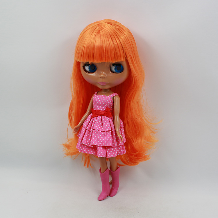Nude Blyth doll black skin fashion doll orange bangs long hair with bangs birthday toys for girls DIY bjd dolls for sale 28 5cm mini nude doll blyth bjd doll doll blonde long hair with bangs modified diy doll girls favorite fashion doll