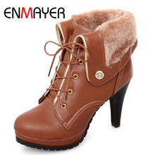 ENMAYER Casual Boots Soft Large size 34-43 Black Fashion Women Riding Ankle boots Winter Woman Lace-up Round Toe Women Shoes