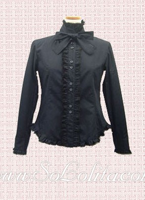Lolita Dar Blue Bowtie Stand Collar Cotton Blouse