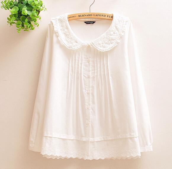 XS-4XL----white lace lacing peter pan collar long sleeve shirt blouse mori girl