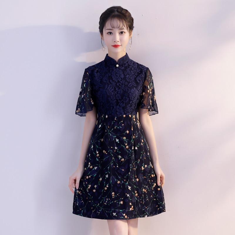 6c12f131a2 xxl Estilo Mini Chino Fiesta Rayón Mandarin Vestidos Collar Cheongsam Vestido  Mujer Qipao Corto 2019 Verano ...