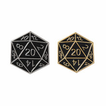 "D20 Venti Multi lati dadi Smalto pins RPG spille ""Dungeons And Dragons"" badge Gioco del Regalo dei monili per gli uomini donne di gioco amante(China)"