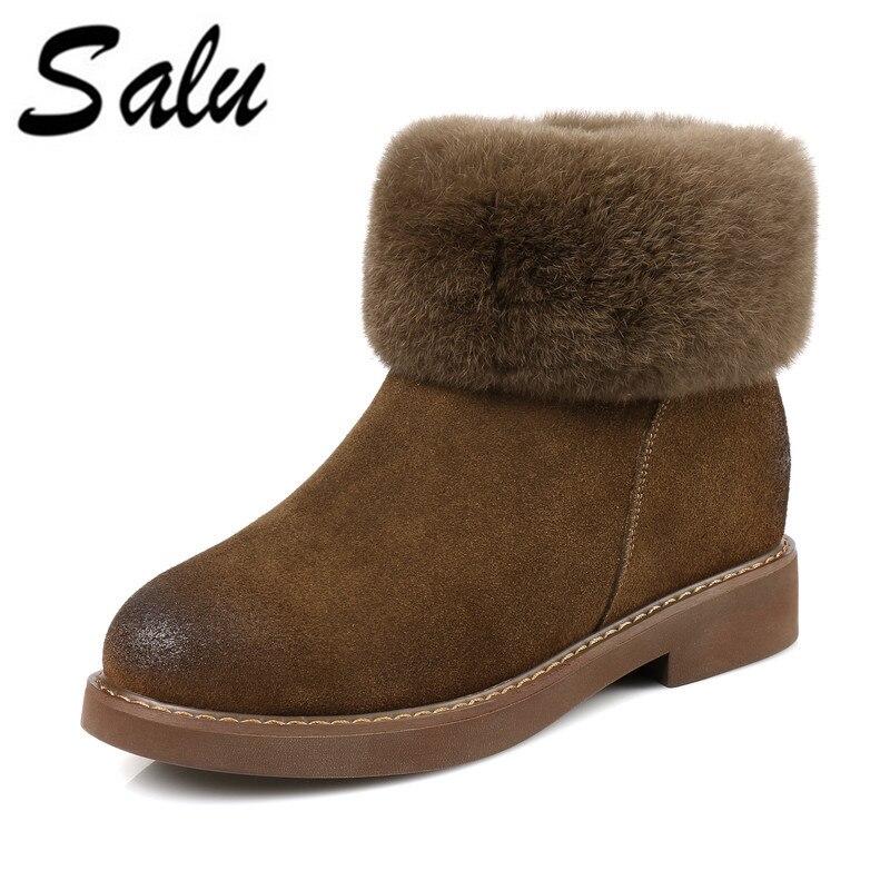 купить Salu Winter boots shoes woman Genuine snow boots Black khaki 35-39 Free shipping по цене 2953.81 рублей