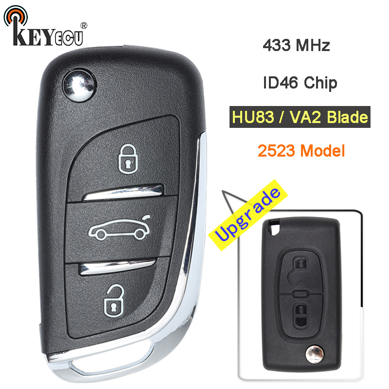 KEYECU 433MHz ID46 Chip CE0523 Model Modified Flip Folding Remote Key Fob 2 3 Button HU83/ VA2 Blade for Citroen after 20110416 купить недорого в Москве