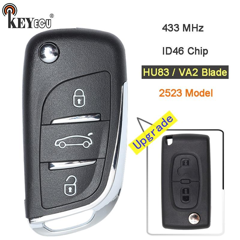 KEYECU 433MHz ID46 Chip CE0523 Model Modified Flip Folding Remote Key Fob 2 3 Button HU83/ VA2 Blade for Citroen after 20110416 все цены