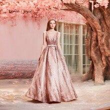 Лимонное joyce розовое вечернее платье с o-образным вырезом без рукавов сексуальное иллюзионное платье с открытой спиной А-силуэт вечерние платья для выпускного вечера размера плюс robe de soiree