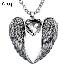 YACQ Guardian Angel Wing Heart Necklace Antique Silver Color Women Girls Biker Bling Crystal Jewelry Gifts Dropshipping NC06(China)
