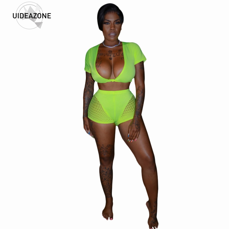 unicomieda-2019-new-arrival-women's-mesh-stitching-short-sleeved-sexy-deep-v-shirt-and-shorts-casual-sports-two-piece-suit