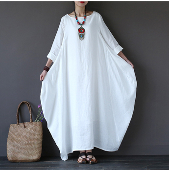 2018 Summer Plus Size Dresses For Women 3xl 4xl 5xl Loose Cotton Linen Dress White Boho Shirt Dress Long Sleeve Long Maxi Robe 1