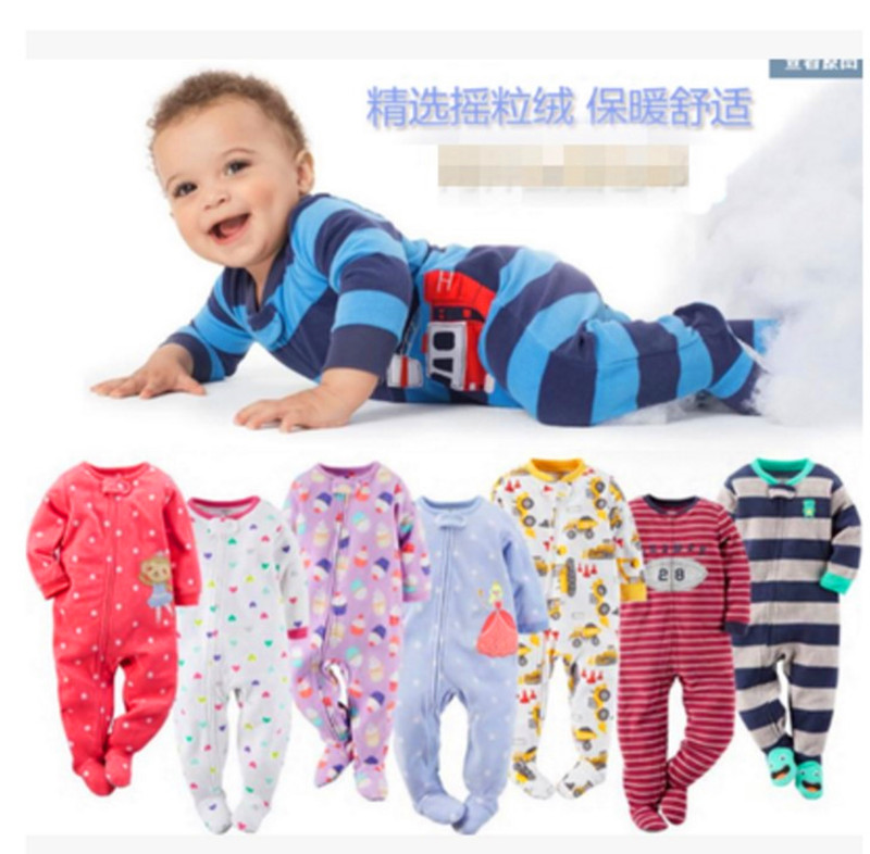 Children boys and girls fleece Siamese climbing clothing with foot warm pajamas baby leotard   Romper   bag fart long climb